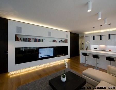 Apartamento moderno en mosc for Techos salones modernos
