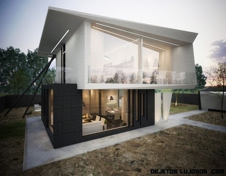 Casas con vidrio y madera