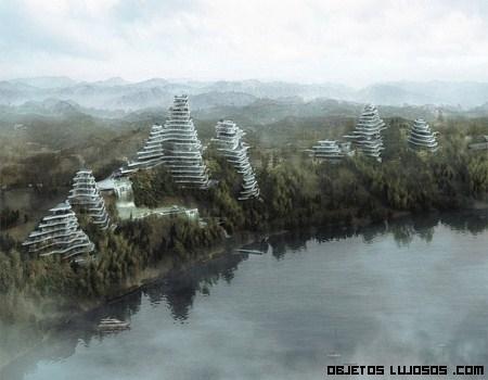 Casas onduladas en el lago Huangshan Taiping