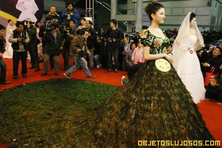 Vestido de plumas de pavo real for Peacock feather wedding dress vera wang 2009