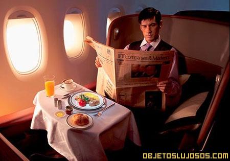 Comida de avión ultra lujosa