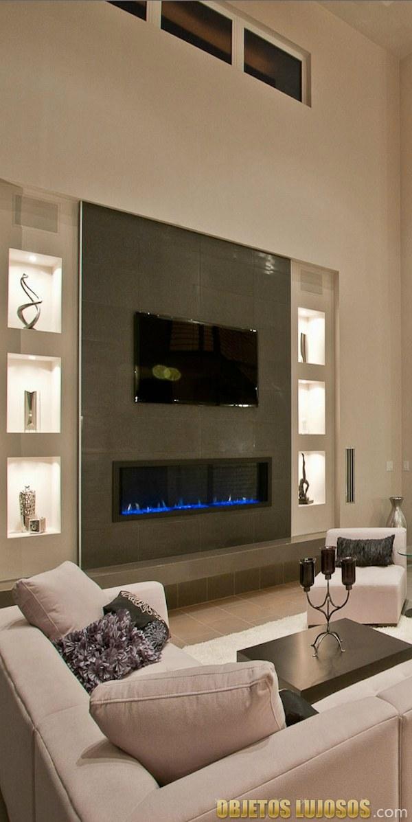 decoración interior con chimeneas