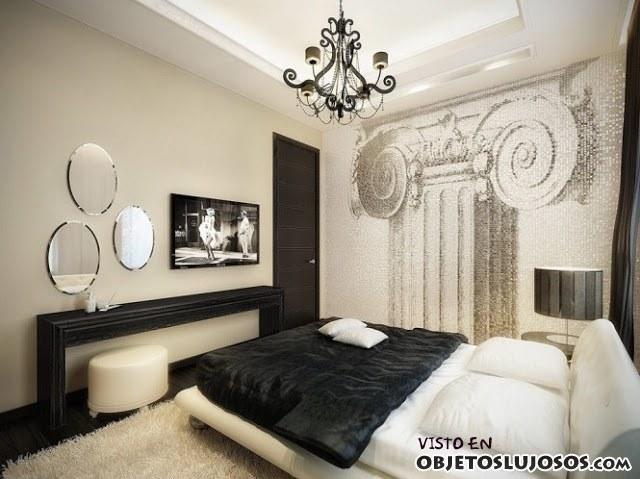 dormitorio de lujo en blanco y negro