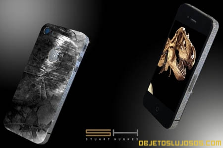 Iphone de diamantes y restos de dinosaurio