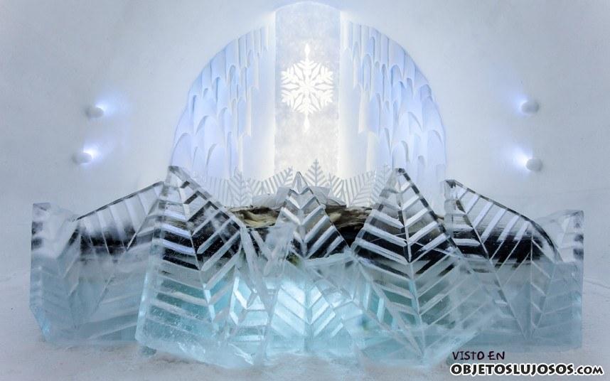 muebles en hotel de hielo