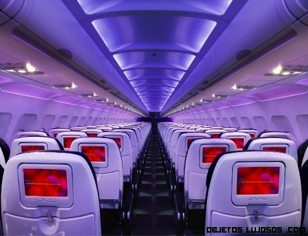 Pantallas en los asientos de aviones