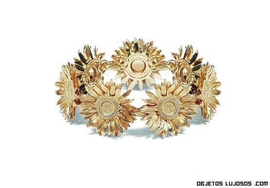 pulsera de oro con girasoles