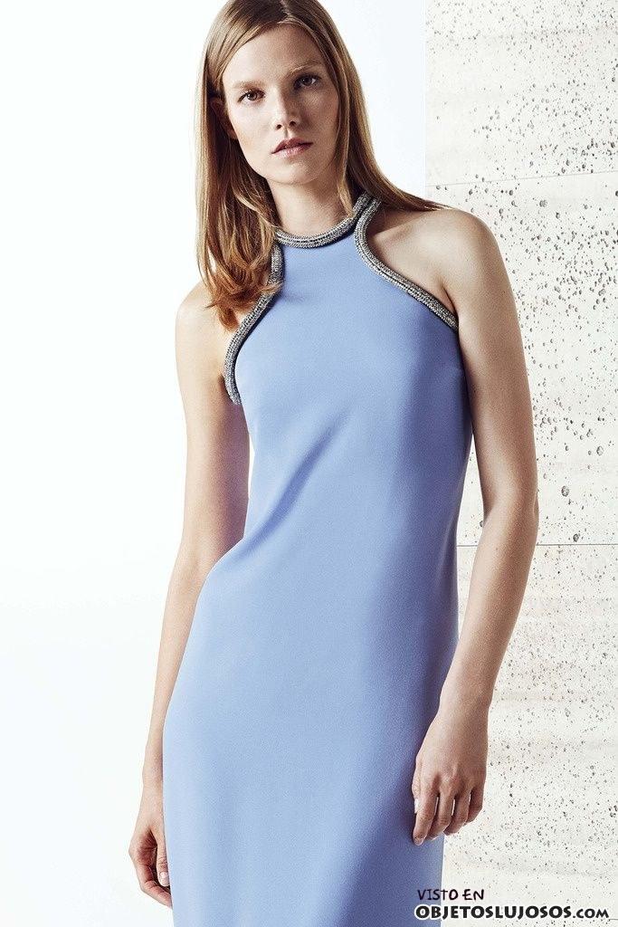 vestido azul gucci