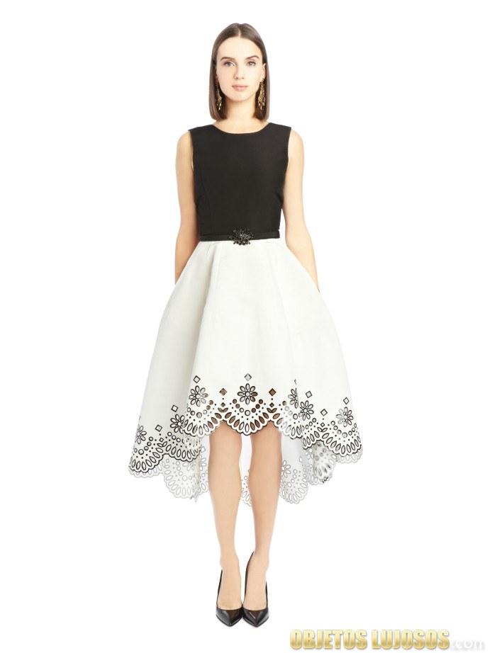 vestido corto bicolor de oscar de la renta