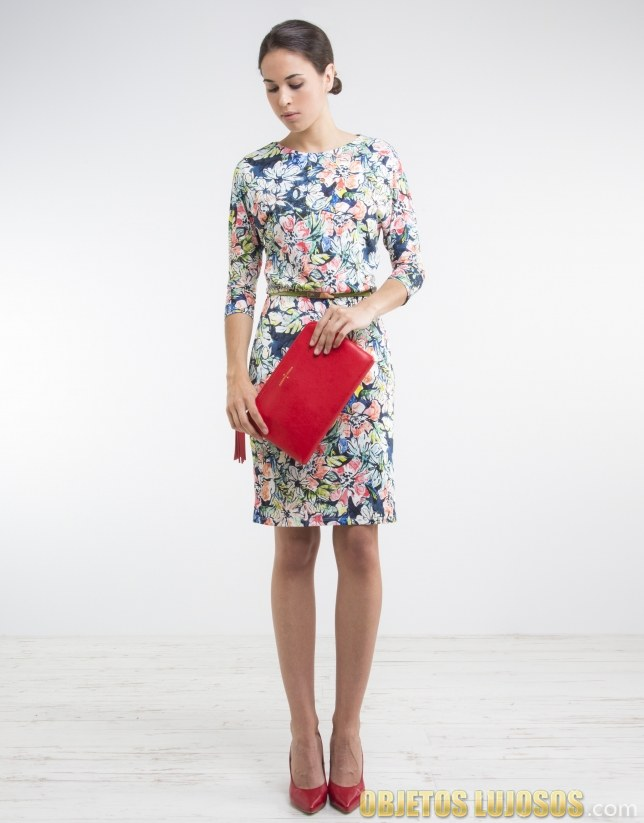 vestido corto con manga estampado