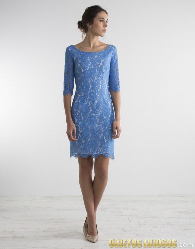 vestido corto en azul roberto verino