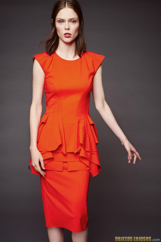 vestido corto en rojo de zac posen