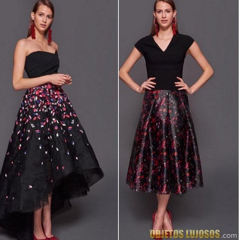 vestidos de lujo con faldas estampadas