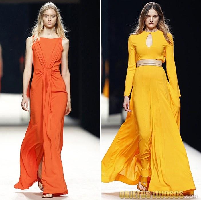 vestidos en naranja y amarillo de juanjo oliva